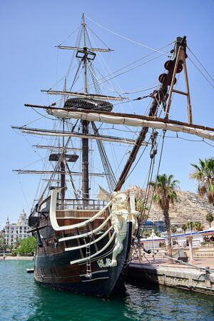 Alicante, Spain - June 30, 2016: Bow of the Santisima Trinidad ship. Ship is an exact replica of the Santisima Trinidad . Costa Blanca. Spain.
