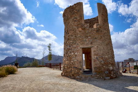 southeastern: An ancient watchtower on a hill. Cartagena, Spain. Stock Photo