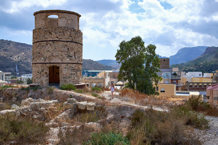 An ancient watchtower on a hill. Cartagena, Spain. Stock Photo