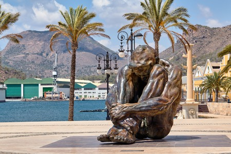Cartagena, Spain - July 13, 2016: Monument El Zulo, created by sculptor Victor Ochoa. Dedicated to the victims of terror in Madrid in 2004.
