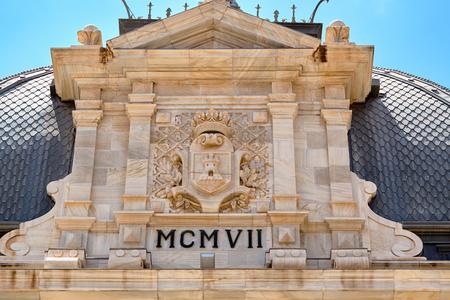 Facade of historic building Palace Hall of Cartagena, Spain. Palacio Consistorial.