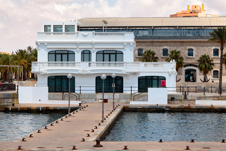 navy pier: Cartagena, Spain - July 13, 2016: Former building of the yacht club in Cartagena. It was built by the architect Mario Spottorno and Sans de Andrino in 1907-1912