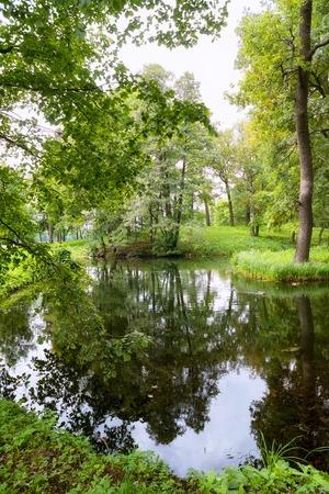 jorobado: Una vista pintoresca en Gatchina Palace Park en la hermosa naturaleza y arquitectura. Foto de archivo