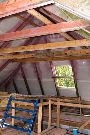 rafters: Building Attic Interior. Wooden Roof Frame House Construction. Roofing Construction Indoor.