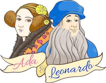 ada lovelace and leonardo da vinci cartoony