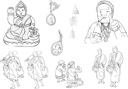buddhism: drawing of buddhism monk Illustration