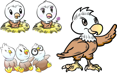 young eagle character Vettoriali