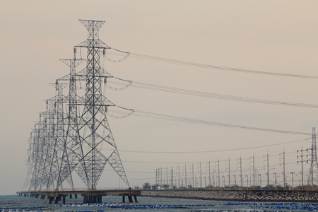 power pole: High voltage power pole in the sea