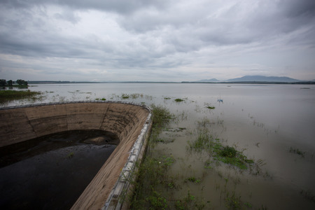 klong: Klong Yai reservoir dike at Rayong in Thailand Stock Photo