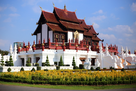 reigning: The Royal Pavilion (Ho Kham Luang) in Royal Park Rajapruek in Chiang Mai at Thailand Editorial