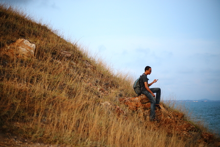 the pampas: Man and hay mountain in Rayong at Thailand