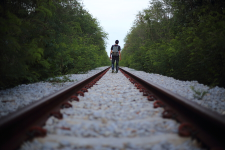 goes: The man goes on rails