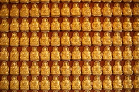 doctrine: Rows Of Golden Buddha Statues at Wat Leng Nei Yi 2 in Nonthaburi, Thailand