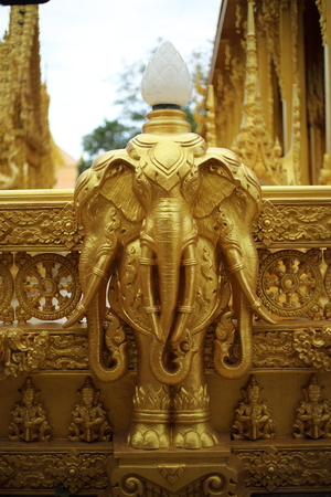 gold color erawan of Wat Pak Nam Jolo in Chachoengsao at Thailand. Stock Photo
