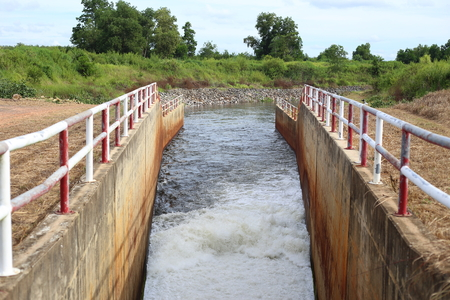 sluice dam in Pra Sae Reservoir at Rayong, Thailand