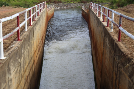 hydroelectricity: sluice dam in Pra Sae Reservoir at Rayong, Thailand