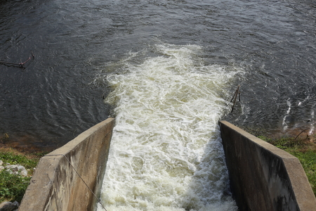 pla: floodgate at Nong Pla Lai reservoir in Rayong, Thailand