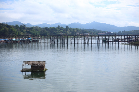 kanchanaburi: old wooden bridge (Mon bridge) at Sangkhlaburi, Kanchanaburi, Thailand
