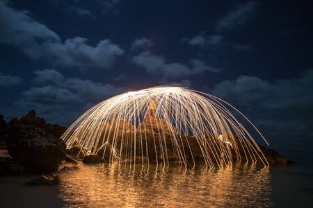 steel wool: Spin the fire in Thailand Stock Photo