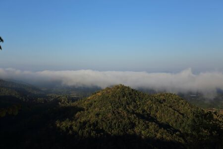 The fog at the viewpoint of Wat Phra That Doi leng at Phrae, Thailand