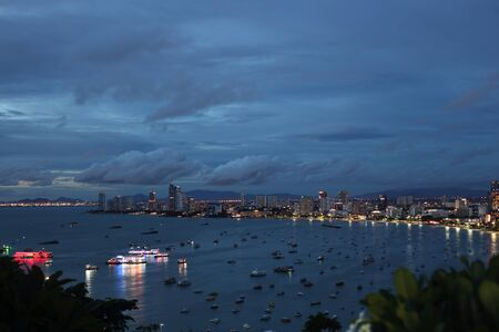 Pattaya city high angle view in the evening, Thailand Stock Photo