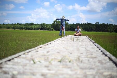 A woman sitting on a wooden bridge in a rice field