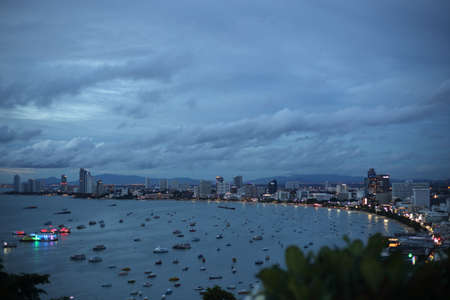 Pattaya city high angle view in the evening, Thailand Editorial