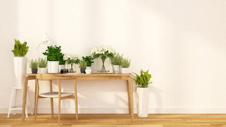 modern house: flower shop and cafe indoor garden - 3d rendering Stock Photo