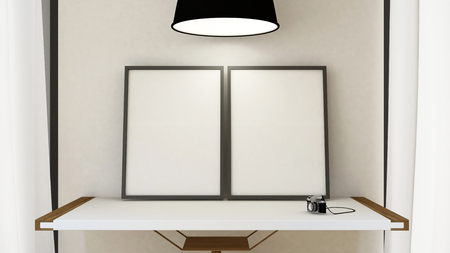 frame picture on wooden table and pendent lamp - 3D Rendering Stock Photo