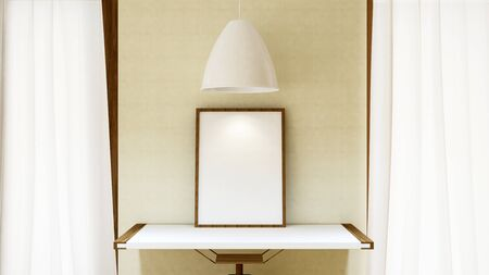 pendent: frame picture on wooden table and white pendent lamp - 3D Rendering Stock Photo