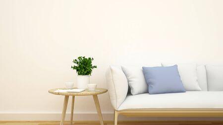 modern house: living room or cafe clean design - 3d rendering