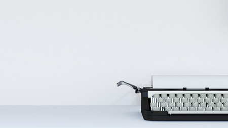 happy new year text: Typewriter on white background - 3D rendering