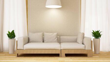 Canapé blanc et bois avec plante en salle blanche-rendu 3D Banque d'images - 76396531
