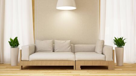 pendent: White and wood sofa with plant in white room-3D rendering Stock Photo