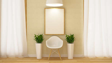 wooden white chair with frame and flowerpot-3D Rendering