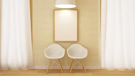 wooden white chair with frame and pendent lamp-3D Rendering Stock Photo