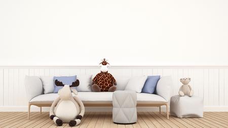 modern living room: doll reindeer bear and giraffe in kid room or living room - 3D rendering