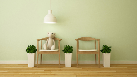 pendent: bear doll in kid room or cafe - 3D Rendering