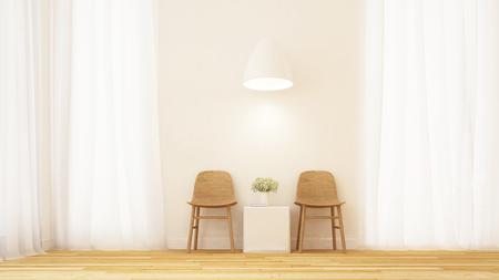 living area in clean room minimal design - 3D Rendering Stock Photo