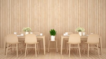 restaurant or coffee shop on wood design - 3D Rendering 版權商用圖片