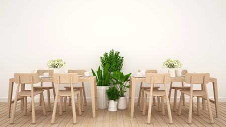 luxury house: Dining area in restaurant or coffee shop clean design - 3D Rendering Stock Photo