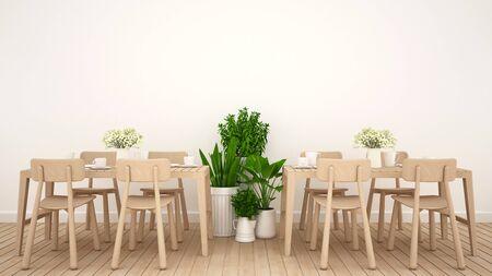 Dining area in restaurant or coffee shop clean design - 3D Rendering 版權商用圖片