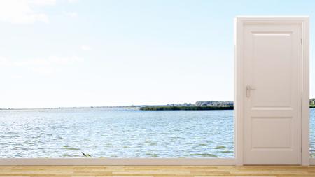luxury living room: Door and sea for background artwork - 3d rendering Stock Photo