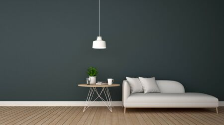 daybed: living area in lounge or ccoffee shop - 3D Rendering Stock Photo