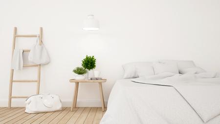 Chambre blanche ou chambre d'hôtel design minimaliste - Rendu 3D Banque d'images - 76678113