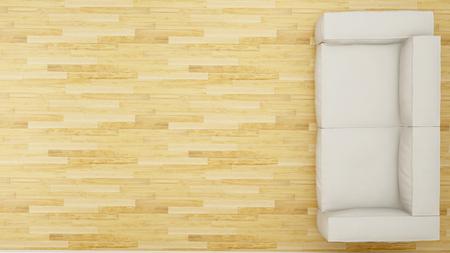 Vue sur le canapé dans le design propre du salon - rendu 3D Banque d'images - 76688541