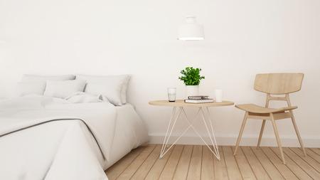 Chambre ou chambre blanche pour le design minimaliste de l'hôtel - Rendu 3D Banque d'images - 76688548