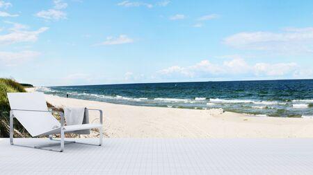 wood floor: daybed on terraceand side beach and sea view - 3D Rendering