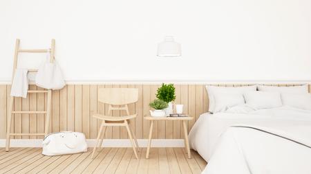 Chambre blanche ou chambre d'hôtel design minimaliste - Rendu 3D Banque d'images - 77499810