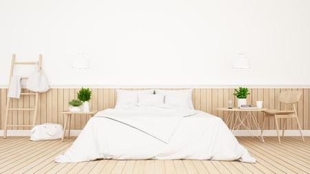 Chambre blanche ou chambre d'hôtel design minimaliste - Rendu 3D Banque d'images - 77153896